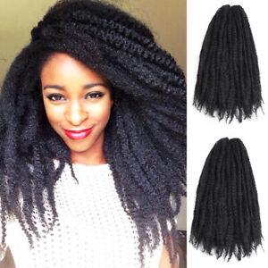 "3PACKS 18"" Afro Kinky Curly Marley Braids Crochet Braids Hair Extensions Locs#1B"