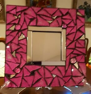Hot Pink stained glass mosaic mirror