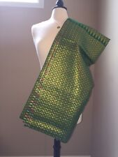 Gorgeous Thai Dress Fabric for Sarong, Dress, or Blouse - Green & Gold