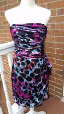 Cache Silk Strapless Animal Print Dress Pink Teal Black Size 10