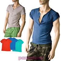 T-shirt maglia maglietta UOMO cotone profondo scollo a V bottoni serafino L1153