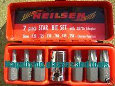 """Star Torx bit set T20 - T50 3/8"""" drive adaptor NEW"""
