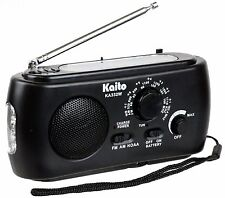 Kaito KA332W Emergency Solar Hand Crank AM/FM Weather Radio with Flashlight BLK