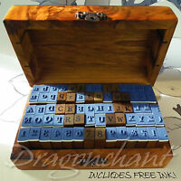 70 Alphabet Rubber Stamp Set Wooden Box Vintage style Wood Letter Number Ink Pad
