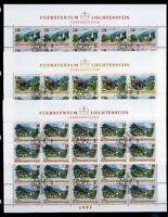 Liechtenstein Kleinbogen MiNr. 1148-50 Ersttagssonderstempel Dörfer (11148
