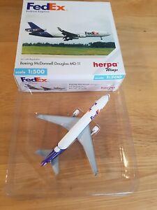 Herpa WINGS 1:500 511636 FedEx MD-11, Registriert, wie neu, OVP