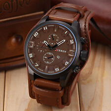 Fashion Curren Men Date Stainless Steel Leather Analog Quartz Sport Wrist Watch Brown