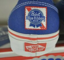 NEW Pabst Blue Ribbon PBR Vans Authentic Shoes Size 6 Men's / 7.5 Women's Socks