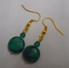 Unique handmade green chrysocolla round gold plated earrings + stoppers