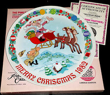 """1982 Royal Orleans """"Sleigh Ride"""" Christmas Plate - Pink Panther Collection Santa"""
