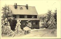 Schellerhau seltene Echtfoto-AK ~1950/60 Partie am Fremdenheim Strecker Winter