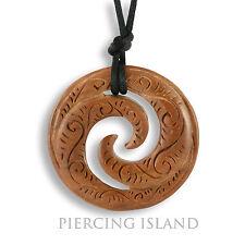 Grosser Amulett Anhänger Holz Kette Maori Koru Design inkl. Band PB325