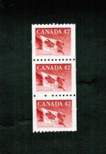 CANADA  1991 STRIP of 3 FLAG COILS  MNH  see scan #1394  BK 433e