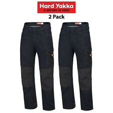 Mens Hard Yakka Legends Denim Work Jeans 2 Pack Cargo Pants Tough Cordura Y03041