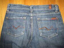 Womens Dark Wash 7 FOR ALL MANKIND Boot Cut Denim Jeans w/ Brown Rhinestones- 27