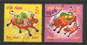 VIETNAM 2020 ZODIAC 2021 YEAR OF OX BUFFALO COMP. SET OF 2 STAMPS IN FINE USED