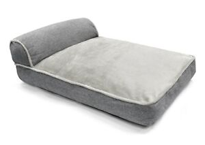 Large Super Soft Comfortable Plush Cushioned Pet Bed with Bolster Linen Grey