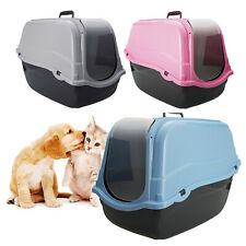 Cat Covered Litter Box Portable Hooded Tray Pet Carrier Toilet Hand Carry Travel