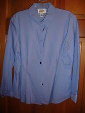Talbots blouse size 12P 12 Petite LS EUC button blue red stitching
