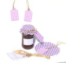 JAM COVERS LILAC  GINGHAM x12+ sticky jar labels+tags+twine fit jar lids 54-73mm