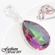 49 Ct! Wedding Party Huge Rainbow Fire Topaz Gems Silver Necklace Lady Pendants