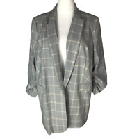 M&S Collection Relaxed Ruched Sleeve Checked Blazer Size 22 Grey Mix RRP £49.50