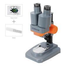 40X Stereo Student Microscope LED Lamp WF20X Eyepieces With Slides & Insect Cell