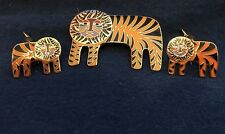 """Tigre"" Tiger Black Orange & 22 KT GP Brooch Hook Earrings Set Laurel Burch #2"