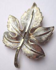 broche grand bijou vintage en relief feuille de couleur or et argent patiné 1696