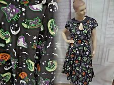 HELL BUNNY GOTHIC HALLOWEEN BLACK CAT SALEM WITCH 50'S DRESS Sz 4XL Pin-Up