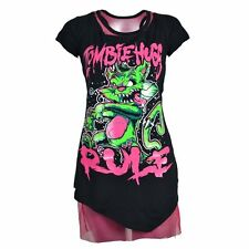 CupCake Cult Cat T-Shirt Zombies Rule Mesh Black Pink Womens 2in1 Size S