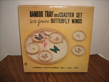 Vintage Bamboo Tray and 6 Coaster Set with Butterflies Genuine Butterfly Wings
