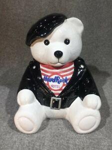 "1997 ""Biker Bear"" Hard Rock Hotel Ceramic Cookie Jar By Lotus Good Condition"