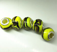 5pcs Silver  GLASS BEAD LAMPWORK fit European Charm Bracelet Fitting  H /