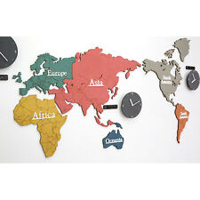 Multicolor Wood World Time Non Ticking Silent Wall Clock_World Map Home Décor