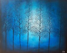 Handmade large Blue woods tree nature acrylic contemporary Painting Art