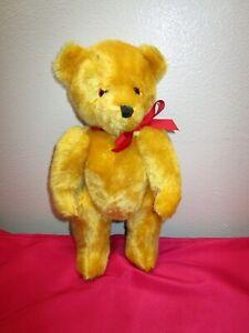 "Vintage Dean's Co London Gold Jointed 12"" Teddy Bear Mohair Wool"