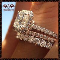 14k Solid White Gold 1.75CT Round Diamond Trio Ring Set Engagement Wedding