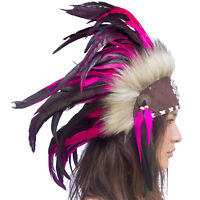 Mini Feather Headdress- Native American Inspired -ADJUSTABLE- Pink with beads