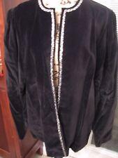JERI MARQUE, WOMEN'S Black Cotton Bl Long Sleeved Blazer W/Silver Sequins Sz L