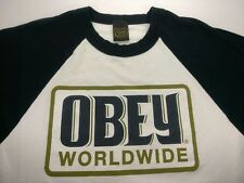 OBEY Worldwide 3/4 Sleeve Baseball White Blue Jersey Raglan Shirt Mens M Medium