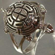 925 Sterling Silver Turtle Design Ring US 8 3/4 AU R oxidised, 2mm Band