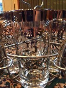 Set of Glasses Coasters Rack SILVER Set 25th Wedding Anniversary
