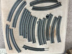 LIMA 00 TRACK 16 CURVED SECTIONS CLEAN USED & FISHPLATES R360 hornby