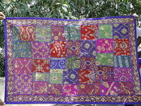 Tapis mural Tenture Violet Dessus de table Patchwork Fait main Boho Hippie Inde