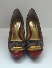 Candie's Women's Animal Leopard Print Open Toe Heels Pumps Size 8