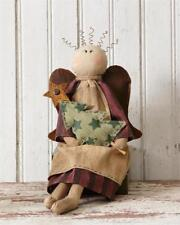 Country Primitive Sitting Angel Holding Tree
