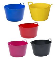 WHIT FURZE COLOR FLEXI TUB WITH HANDLE BUILDER BUCKET TRUG CONTAINER BUCKET NEW