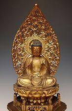 ANTIQUE JAPANESE BUDDHA STATUE Edo Amida Carved Wood Butsuzo Lacquer Sculpture
