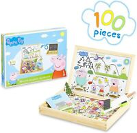 Peppa Pig Wooden Magnetic Board Puzzle Game Educational Toy for Kids, Boys Girls